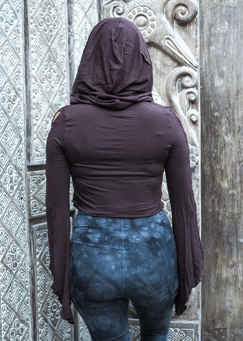 Medieval Hooded Stretch Top- Chocolate