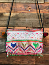 Load image into Gallery viewer, Hill Tribe Clutch-green beads and zig zags