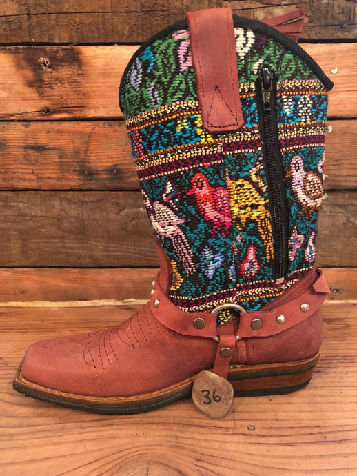 Size 36 Blunt-toe Cowgirl Bling Boots Birds in the Garden