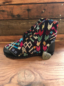 Size 35 Cloth Moccasins Rainbow Shapes on Black