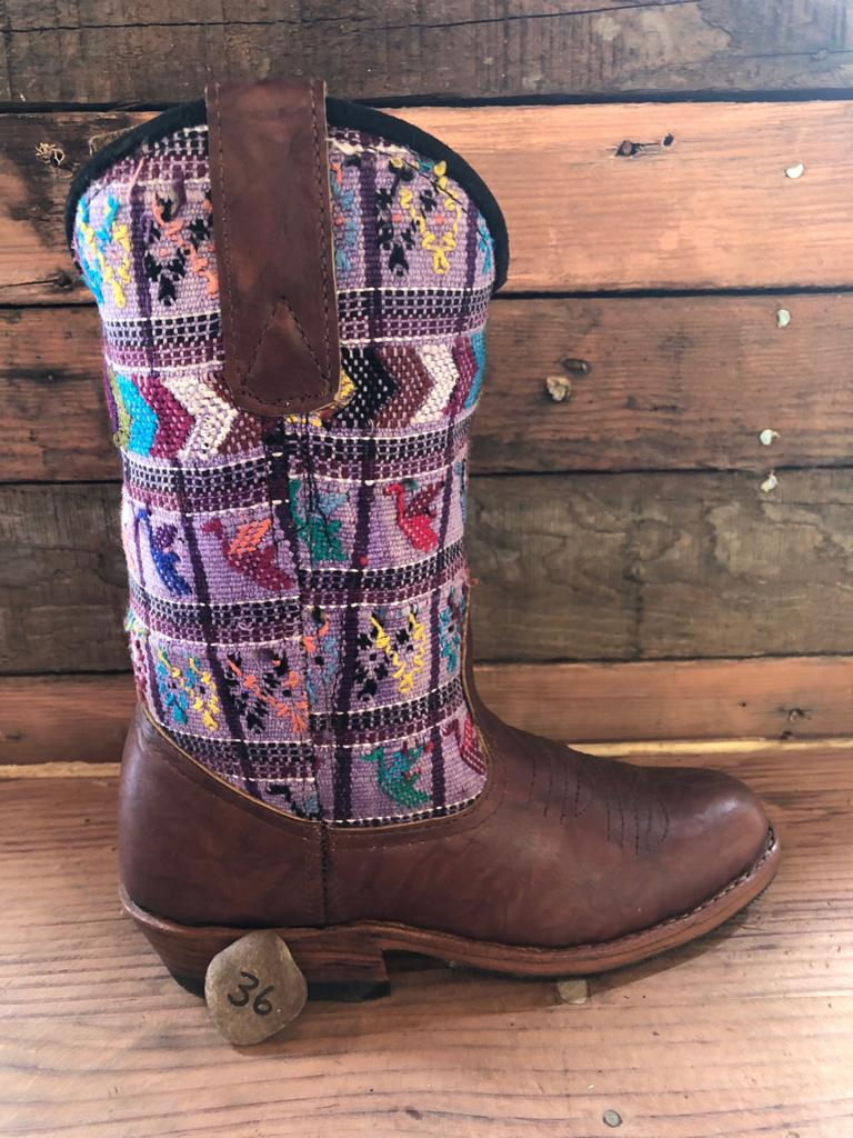 Size 36 - Convertible Cowgirl Boots - Lavender with Birds