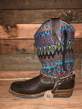 Load image into Gallery viewer, Size 36 Blunt-toe Cowgirl Bling Boots Earthy Aztec