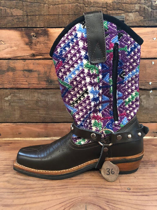 Size 36 Blunt-toe Cowgirl Bling Boots Purple Zigzag