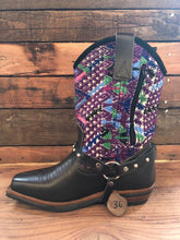 Load image into Gallery viewer, Size 36 Blunt-toe Cowgirl Bling Boots Rainbow Aztec and Purple Zigzag