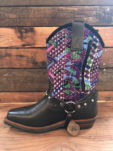 Size 36 Blunt-toe Cowgirl Bling Boots Rainbow Aztec and Purple Zigzag