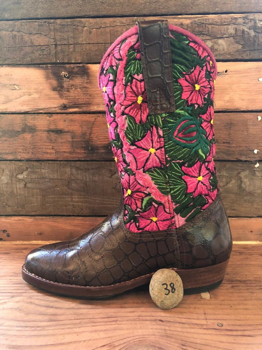 Size 38 - Convertible Cowgirl Boots - Pink Pansies