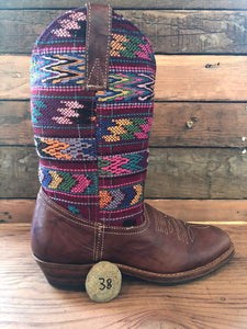 Size 38 Traditional Cowgirl Boot Crimson Aztec