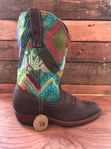 Size 38 Traditional Cowgirl Boot Green with Red Diamond