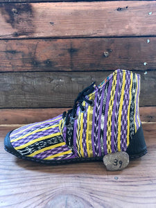 Size 39 Cloth Moccasins Purple and Yellow Stripes