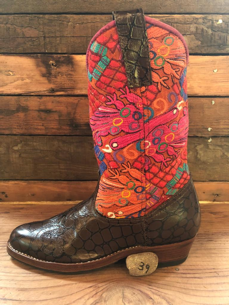 Size 39 - Convertible Cowgirl Boots - Flying Fire Birds