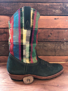 Size 39 Traditional Cowgirl Boot Green Tartan
