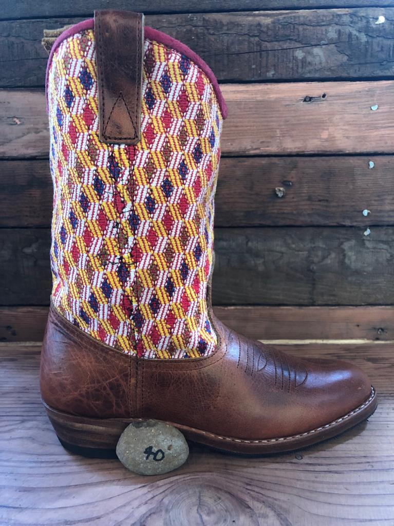 Size 40 - Convertible Cowgirl Boots - Pink Aztec and Funky Fun