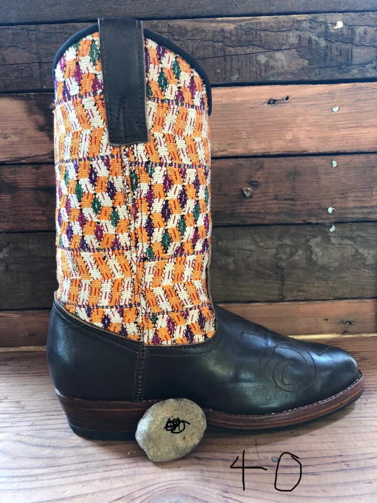 Size 40 - Convertible Cowgirl Boots - Pink Yellow Funky Fun