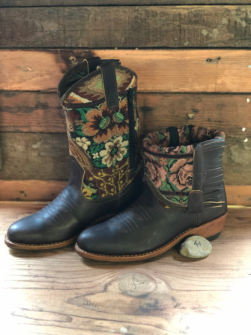 Size 41 - Convertible Cowgirl Boots - Brown Bird and Flowers