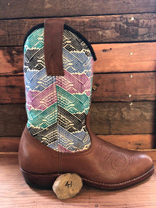Size 41 - Convertible Cowgirl Boots - Brown Embroidery and Aztec