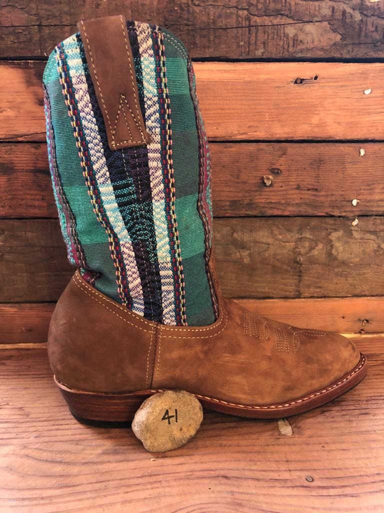 Size 41 Traditional Cowgirl Boot Green Tartan