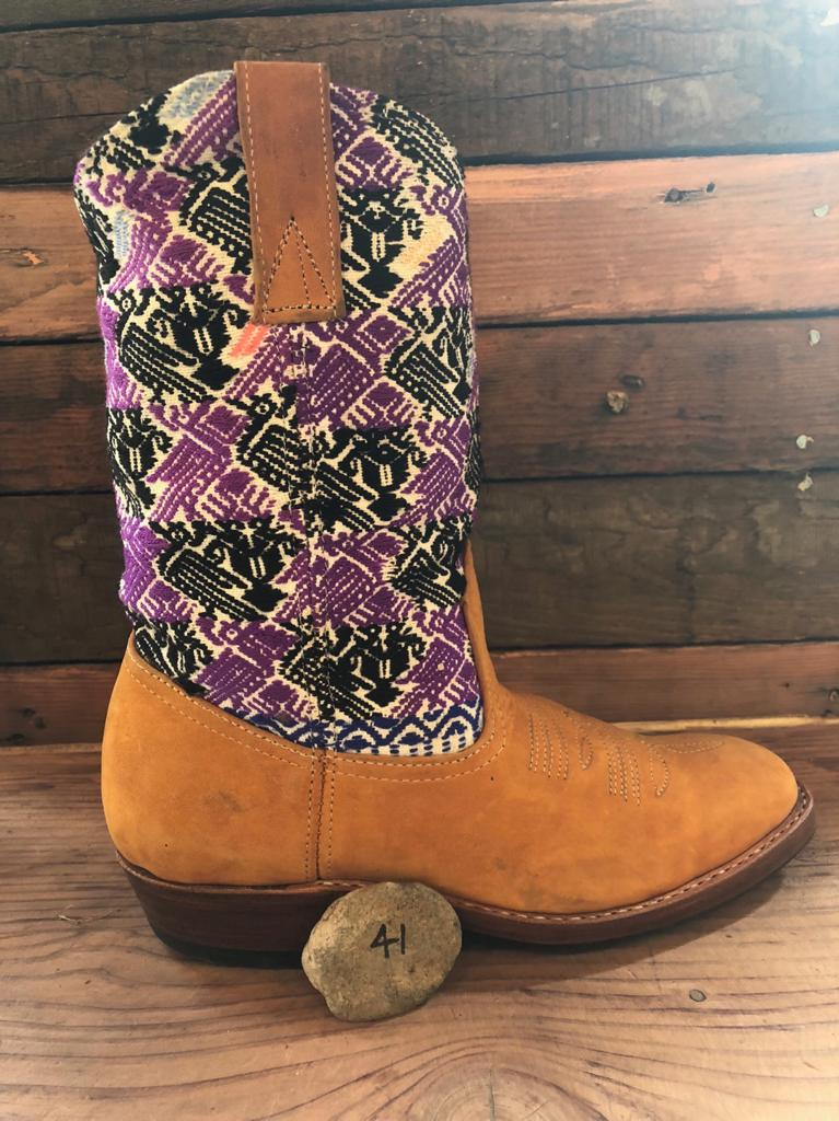 Size 41 Traditional Cowgirl Boot Purple and Black Birds