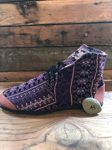 Size 43 Cloth Moccasins Purple ZigZags