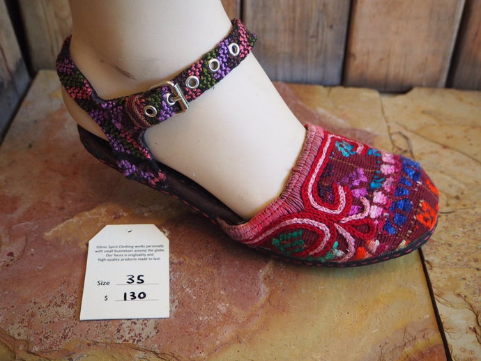 35 Ballerina Sandals - Red, Blue and Pink Pattern