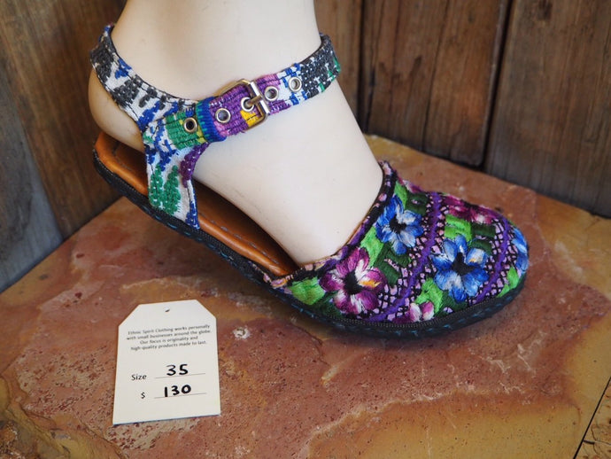 Size 35 Ballerina Sandals - Purple and Blue Pansies
