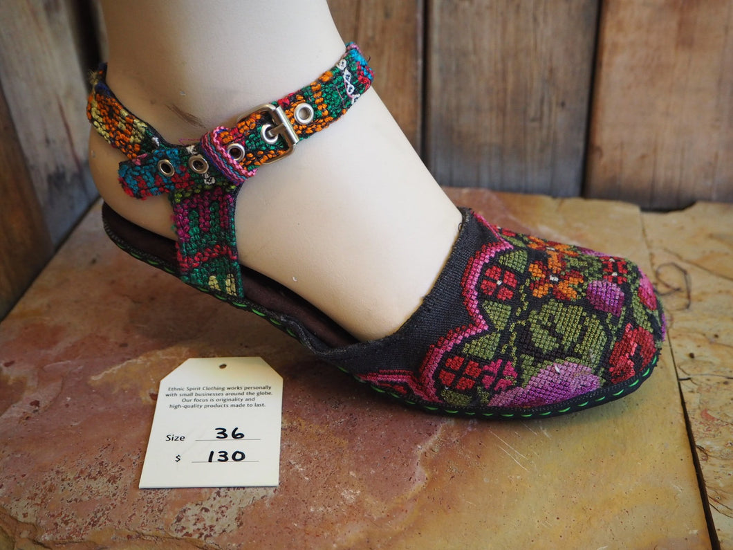 Size 36 Ballerina Sandals - Orange and Purple Flowers and Leaves