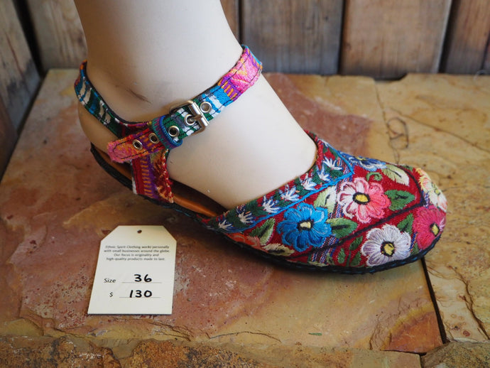 Size 36 Ballerina Sandals - Blue, Pink and Yellow Flowers on Red