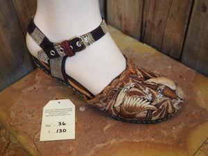 Size 36 Ballerina Sandals - Brown and Gold Birds