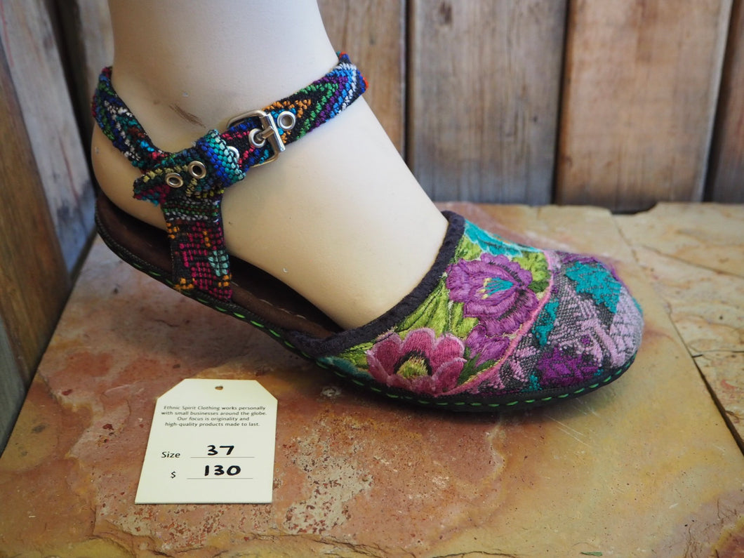Size 37 Ballerina Sandals - Purple and Blue Flowers and Deer