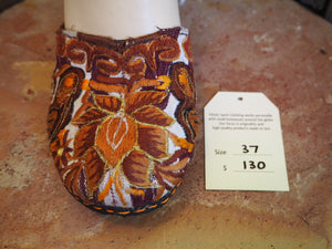 Size 37 Ballerina Sandals - Golden Brown Flower and Birds