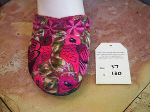Size 37 Ballerina Sandals - Pink Hummingbirds and Leaves