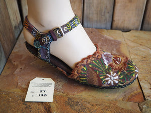 Size 37 Ballerina Sandals - Golden Brown Flower with Leaves