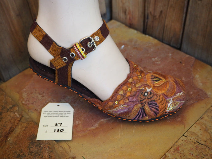Size 37 Ballerina Sandals - Golden Orange Flower and Birds