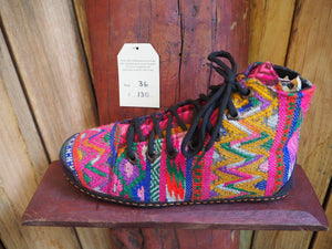 pink and yellow zig zag high converse