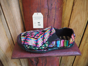 rainbows on black elasticated slip ons