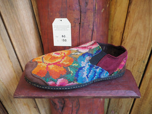 orange and blue flowers elasticated slip ons