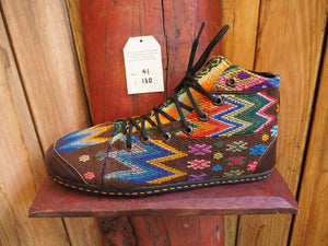 rainbow zig zags on brown high converse