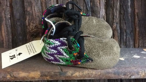 Olive green suede with green, purple and white zigzag