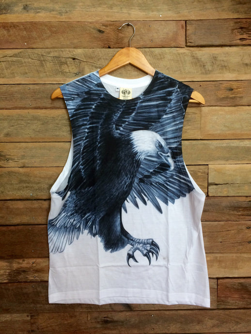 Large Arty Singlet - Black and White Eagle