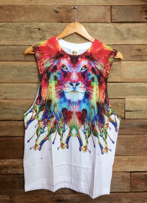 Large Arty Singlet - Peaceful Lion