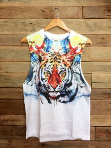 Large Arty Singlet - Tiger and Birds