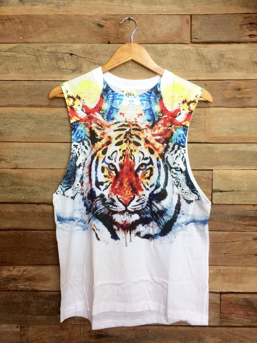 Medium Arty Singlet - Tiger and Birds
