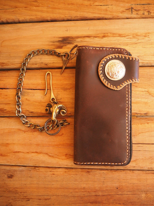 Leather wallet with Brass chain and Bulls Head hook