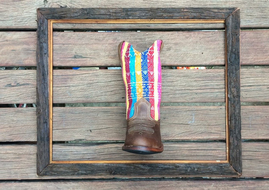 Rainbow stripes with brown leather