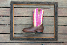 Load image into Gallery viewer, Rainbow stripes with brown leather