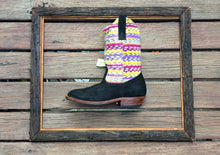 Load image into Gallery viewer, Yellow pink and purple stripes with black suede
