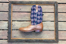 Load image into Gallery viewer, Purple birds on navy with milk brown chocolate leather