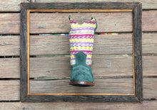 Load image into Gallery viewer, Yellow pink and purple stripes with green suede