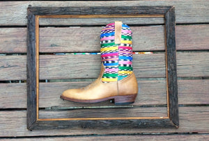 Rainbow stripes with honey leather