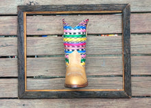 Load image into Gallery viewer, Rainbow stripes with honey leather
