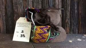 Brown suede with yellow and purple zigzag